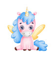 cute little pink unicorn with yellow wings vector image