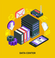data center isometric design concept vector image vector image