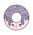 doodle kawaii cute sweet donut snack vector image vector image