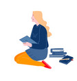 education concept girl sitting on floor reading vector image