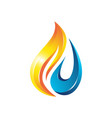 Flame water drop 3d logo