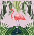flamingo with branches leaves plants background vector image vector image