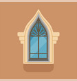 flat window with unusual gothic form on brown wall vector image