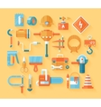Flat working tools icon set vector image