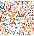 folk orange green yellow and red leaves and birds vector image vector image
