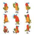 funny bird cartoon character in different vector image vector image