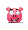 Funny cute crazy pig smiley symbol of 2019