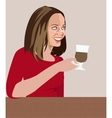 Girl in cafe vector image vector image
