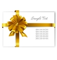 Gold gift bow with ribbons vector image