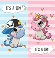greeting card with cute unicorns boy and girl vector image vector image