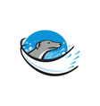 Greyhound Dog Head Water Bubble Oval Retro vector image vector image