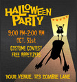 halloween party poster with little monster vector image vector image