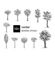 hand drawn black and white set of 10 different vector image