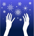 Hands and snow vector image vector image
