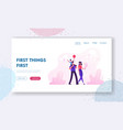 happy family walking website landing page people vector image vector image