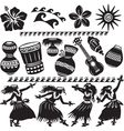 Hawaiian Set with dancers and musical instruments vector image vector image