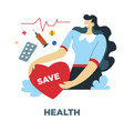 health human needs and heart rate medical vector image