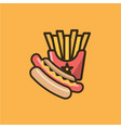 hot dog and french fries in box vector image