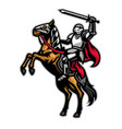 knight mascot ride horse vector image