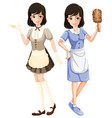 maid character with uniform vector image