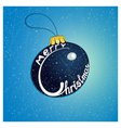 Merry Christmas on the Christmas tree blue toys vector image