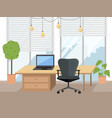 modern office workplace with furniture laptop on vector image vector image