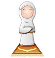 muslim woman praying isolated on white background vector image vector image