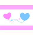 pink heart connecting blue heart with cable vector image
