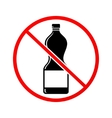 Plastic bottle not allowed sign vector image vector image