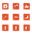 posthumously icons set grunge style vector image vector image