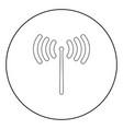 radio signal icon black color in circle vector image vector image