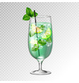 realistic cocktail mojito glass vector image
