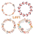 Romantic floral wreaths vector image vector image