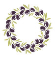 round ornament wreath of black olives vector image vector image
