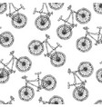 seamless pattern of bicycles endless bike vector image vector image