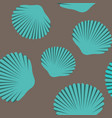 Seamless pattern of blue seashells
