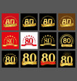 set of number eighty year 80 year celebration vector image vector image