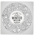 Set of Winter cartoon doodle objects symbols and vector image vector image
