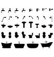silhouettes bathroom elements vector image vector image