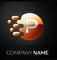 silver letter p logo gold dots splash and bubble vector image