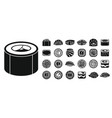 soy sushi roll icon set simple style vector image