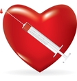 Syringe with a drop of medicine and heart vector image
