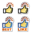 thumb up hand stickers vector image vector image