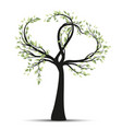tree with branches in heart shape vector image vector image