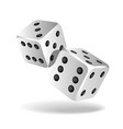 two white falling dice isolated on white vector image vector image