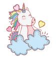 unicorn in clouds cartoon vector image vector image