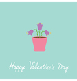 Violet flower in pot Happy Valentines Day vector image vector image