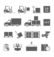 Warehouse transportation and delivery icons set vector image