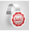 White plastic wobbler with red sale label vector image vector image