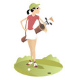 young woman with a bag with golf clubs vector image vector image